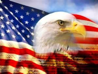 An American Bald Eagle in Front of an American Flag